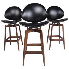 Set of Three Mid-Century Modern Clamshell Kodawood Stools
