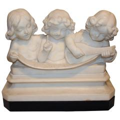 Adolfo Cipriani Carved Stone Musical Sculpture of Three Children Singing