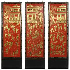 Three Chinese Export Red Lacquered Panels