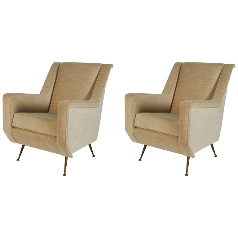 Pair of Mid Century Lounge Chairs with Brass Legs, Italy 1950s