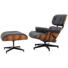 Eames Lounge Chair and Ottoman, Amazing Brazilian Rosewood, Newer HM Cushions