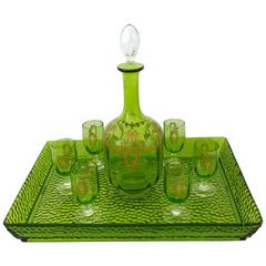 1900 Rare Baccarat Gold Green Chartreuse Crystal Liquor or Aperitif Service