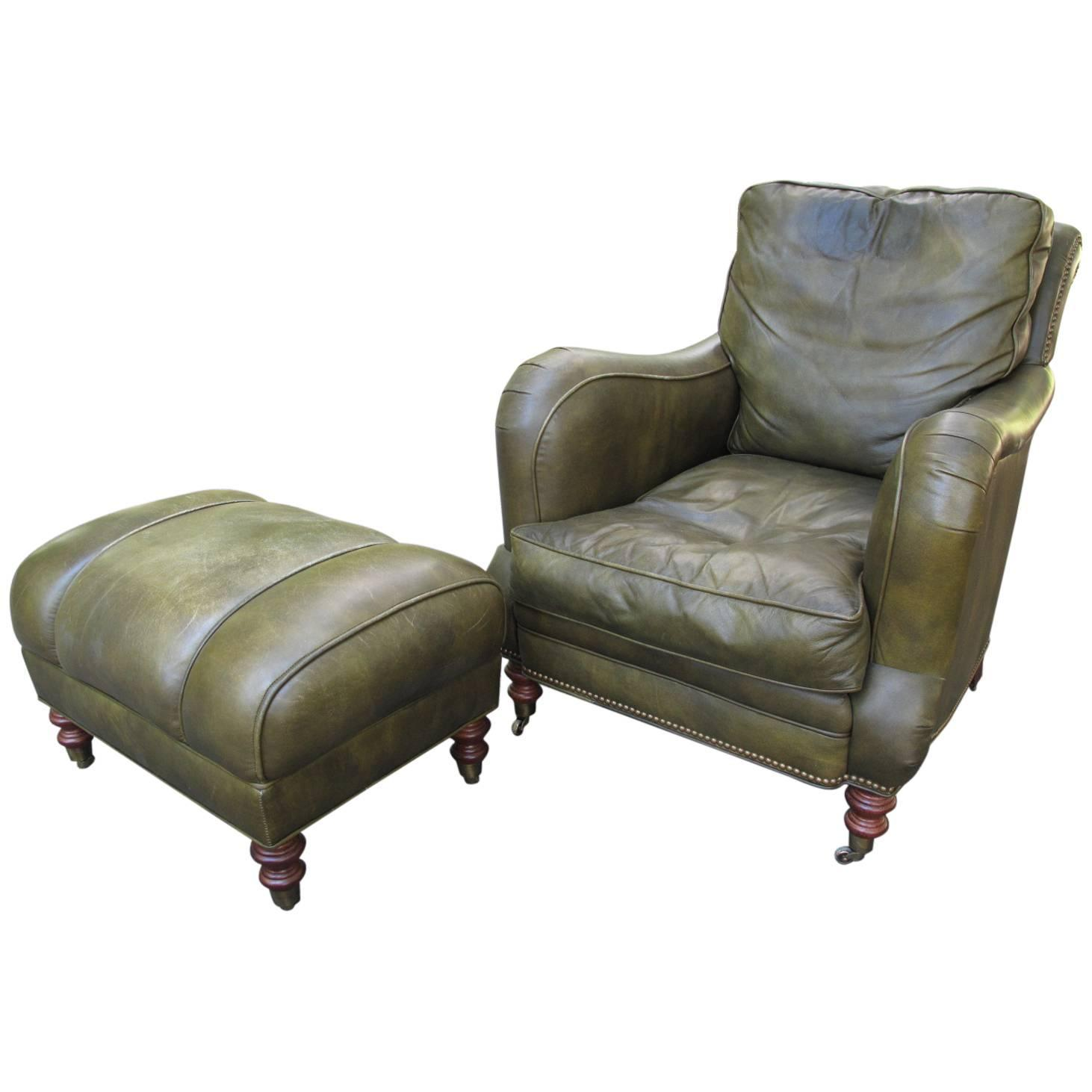 Leather club chair with ottoman at 1stdibs for Chair ottoman