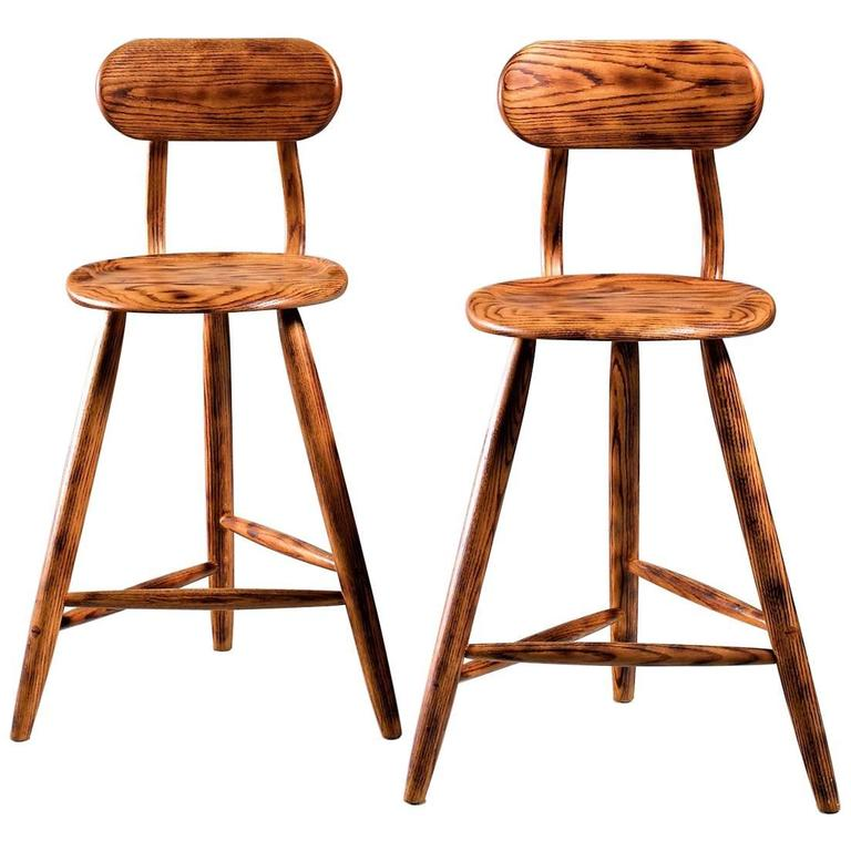 Kai Pedersen Studio Pair Of Bar Stools With Removable Backrest Usa 1983 For