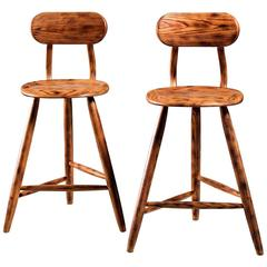 Kai Pedersen Studio Pair of Bar Stools with Removable Backrest, USA, 1983