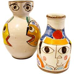 Pair of Ceramic Hand-Painted Vase and Pitcher by DeSimone, Italy