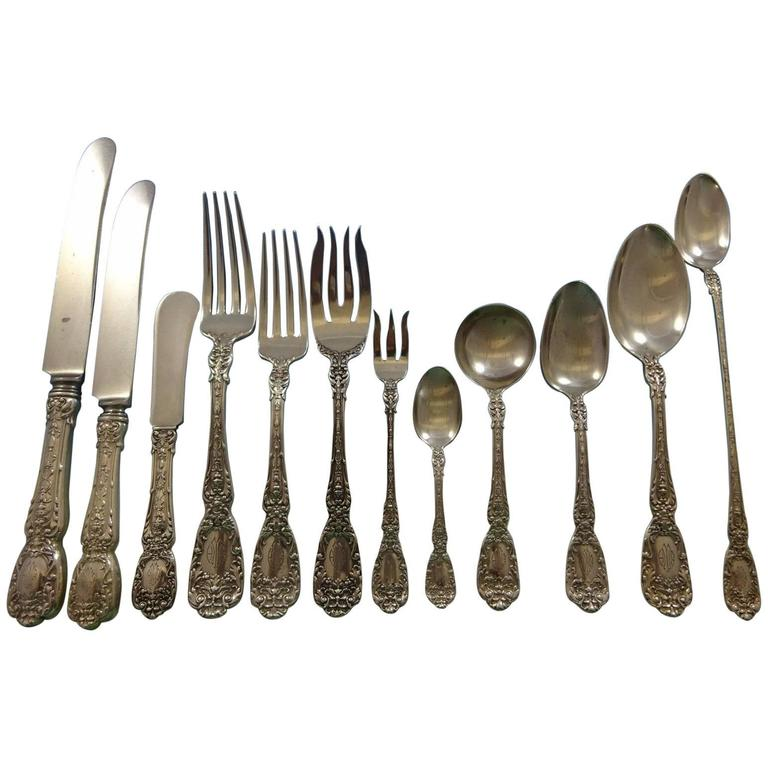 Florentine by Gorham Sterling Silver Flatware Service for 12 Set Dinner 195 Pcs