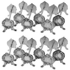 Henin French All Sterling Silver Knife Rests Set of Twelve-Piece Rococo