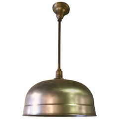 Industrial Brushed Steel Dome Billiard Pendant Light By Brunswick Co.