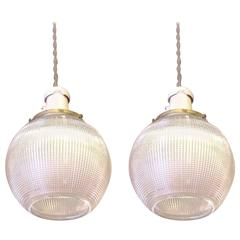 Pair of Holophane Glass Open Globe Pendant Lights