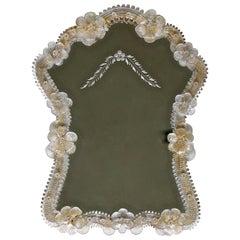 Italian Venetian Murano Floral Wall Mirror