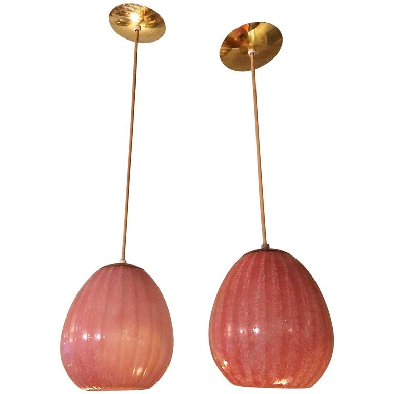 Pair of Hollywood Regency Blown Glass Pendant Lights For Sale