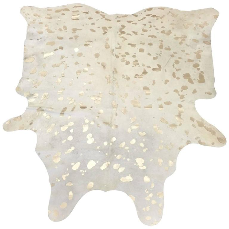 Devore Metallic Leopard Spot Cowhide Rug By Saddlemans At