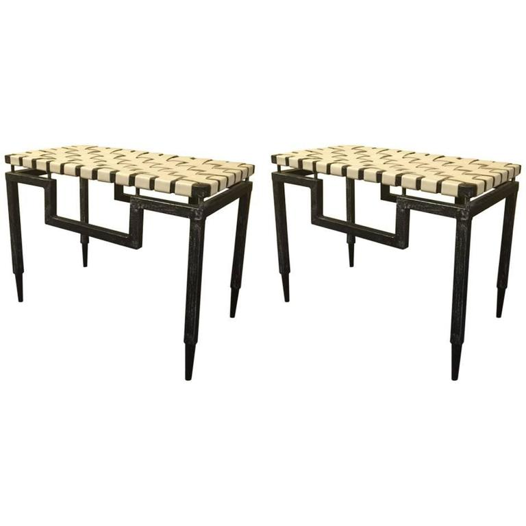 Pair Of American Modern Leather And Steel Stools At 1stdibs