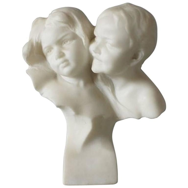 Double Marble Bust with Two Children's Heads, Very Heavy for Affortunato Gory