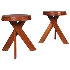 Pierre Chapo S31 Pair of Stools, circa 1960 with Beautiful Tripod Twisted Legs