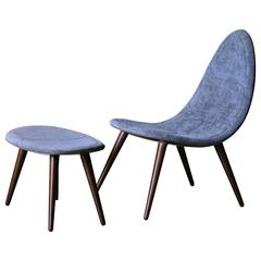 Modern French Fibre/Resin Futuristic Slim-Lined Velvet Lounge Chair, Ottoman