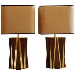 Mid-Century Modern Pair of Brown Oak and Brass Italian Table Lamps with Shades
