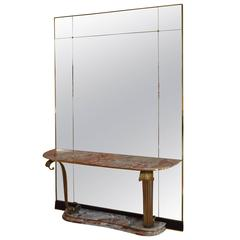 Rare Art Deco Floor Mirror Console