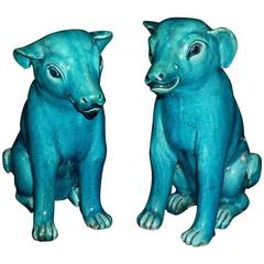 Pair of Chinese Export 'Compagnie des Indes' Turquoise Porcelain Dogs