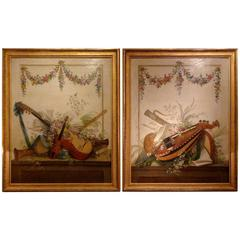 Pair of Louis XVI Period Paintings Le Riche Musical Instruments Trophies