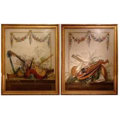 Pair of Louis XVI Period Paintings Le Riche Musical Instruments Trophies