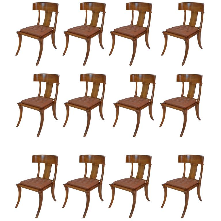 20th Century Klismos Walnut Comfortable Dining Chairs For Sale