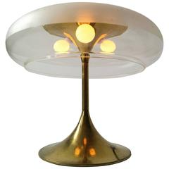 Reggiani Attributed Brass And Clear Acrylic Shade Table Lamp 1960s Italy
