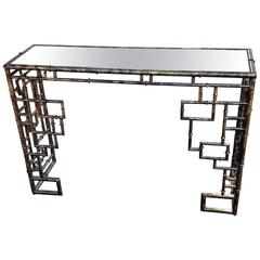 Fabulous Faux Bamboo Console with Aged Mirror Top