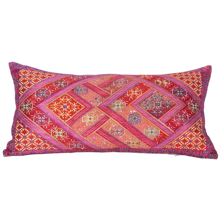 Pillow Made Out of a Mid-20th Century Swat Embroidery For Sale at 1stdibs