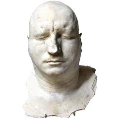 Particularly Large Mid-20th Century Plaster Death Mask of a Gentleman