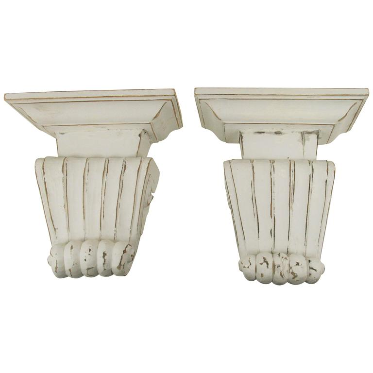 Pair of Large Fluted Wall Shelves