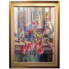 Joseph Joe Plaskett Artist's Studio Oil on Canvas Still Life Flowers Painting