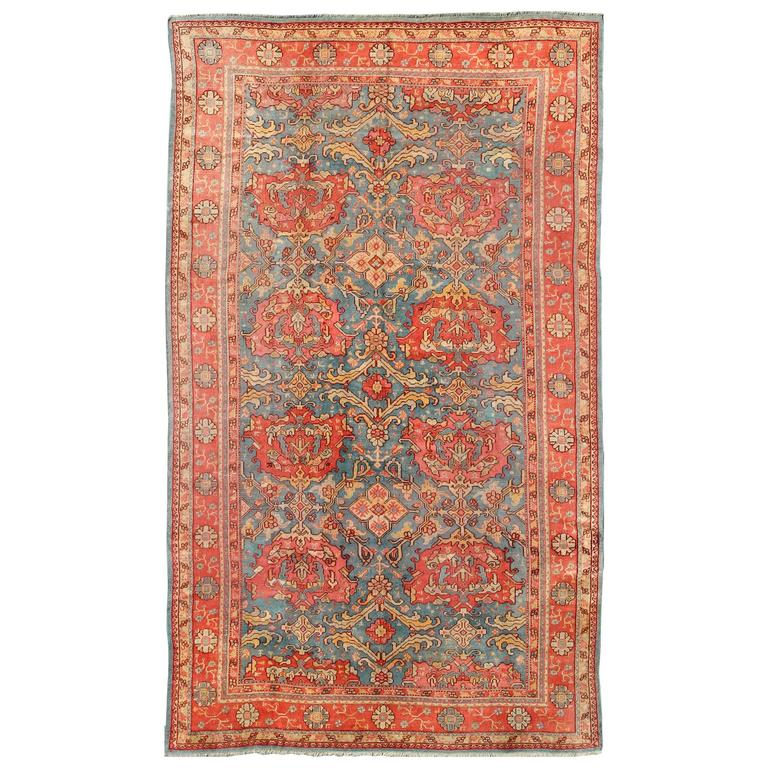 Antique colorful turkish oushak rug with teal color for for Colorful rugs for sale