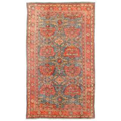 Antique Colorful Turkish Oushak Rug with Teal Color