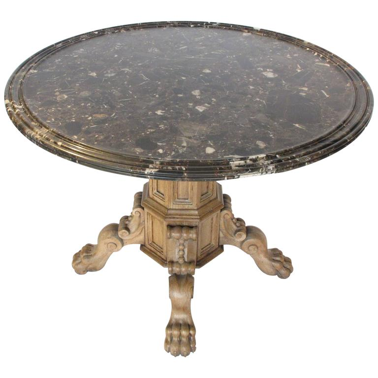 19th century oak center table with marble top at 1stdibs for Table th center
