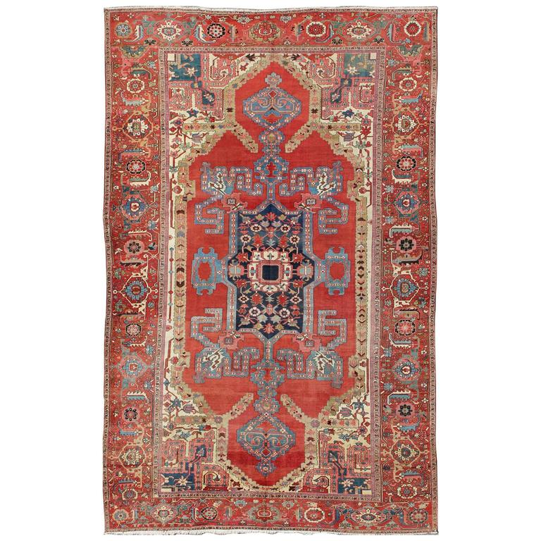 Large Antique Persian Bakshaish Serapi Rug