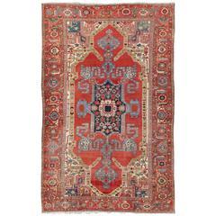Large Antique Persian Bakshaish Serapi Rug