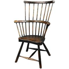 18th Century Primitive Comb Back Windsor Chair