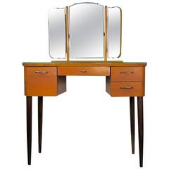 Mid-20th Century Teak Dressing Table with Angled Mirror