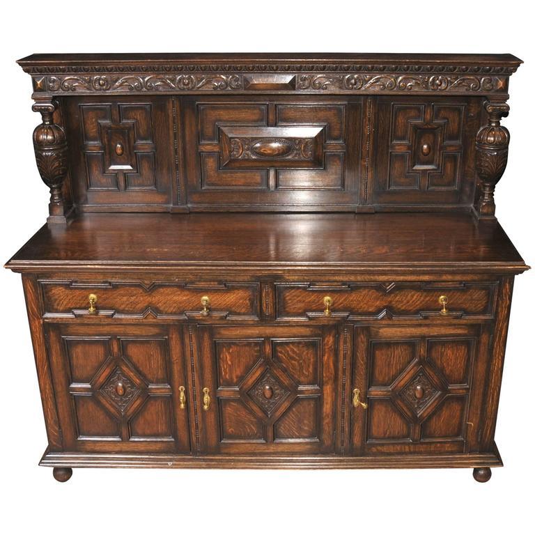 Antique Oak Jacobean Sideboard Server Buffet At 1stdibs