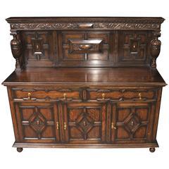 Antique Oak Jacobean Sideboard Server Buffet