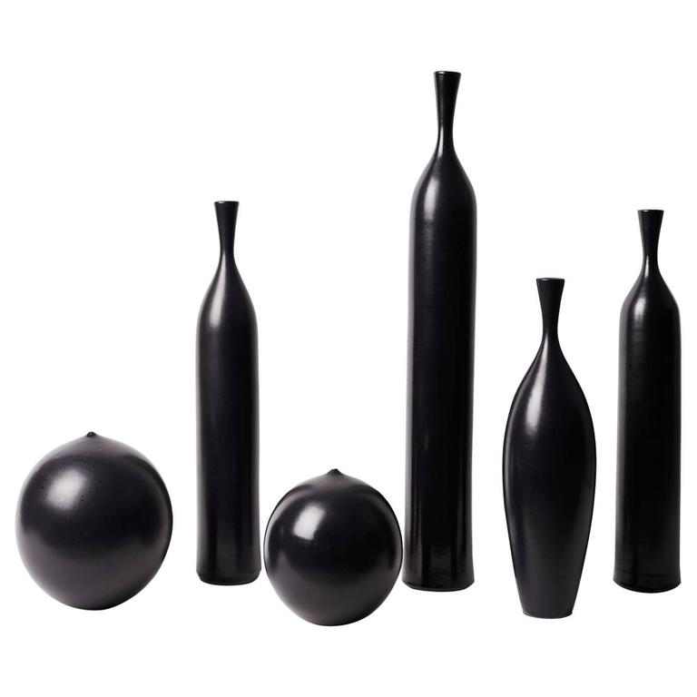 Set of Six Black Ceramic Vases Signed by J.Bro 1