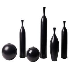 Set of Six Black Ceramic Vases Signed by J.Bro