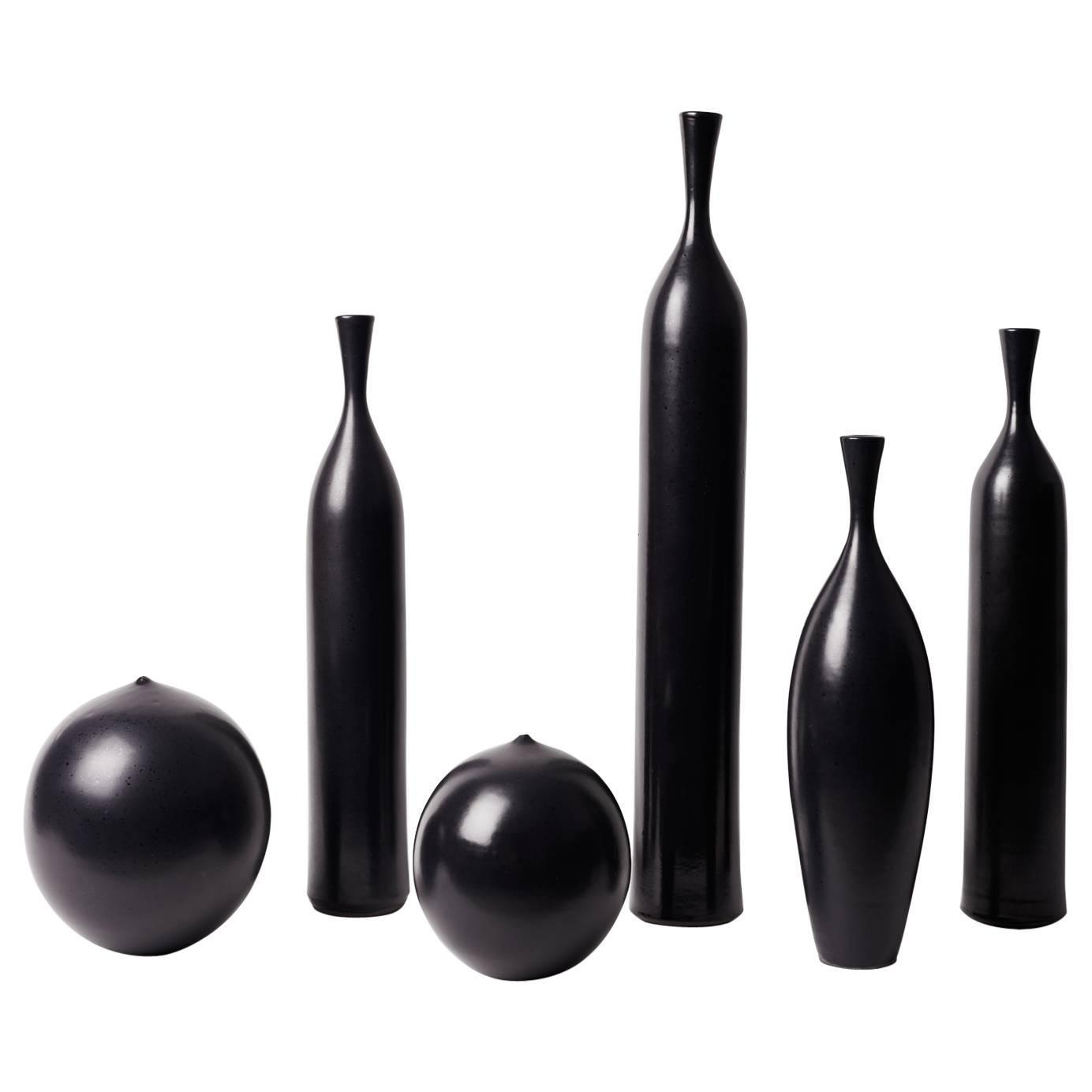 Set of six black ceramic vases signed by jo for sale at 1stdibs reviewsmspy
