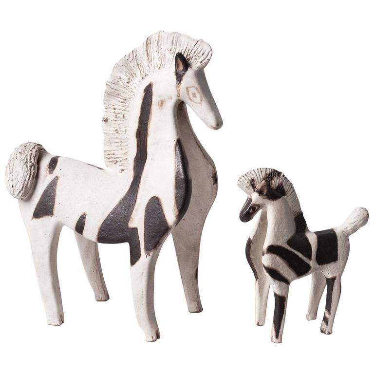 Two Ceramic Horses by Bruno Gambone, Italy