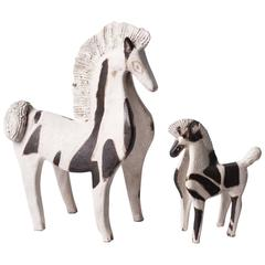 Two Ceramic Horses by Bruno Gambone, Italy