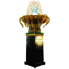 Mid-Century Big Fountain in Murano Glass with Light Handmade for Indoors