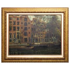 'The Brewer's Canal - Amsterdam' Oil Painting by Louis Rempt