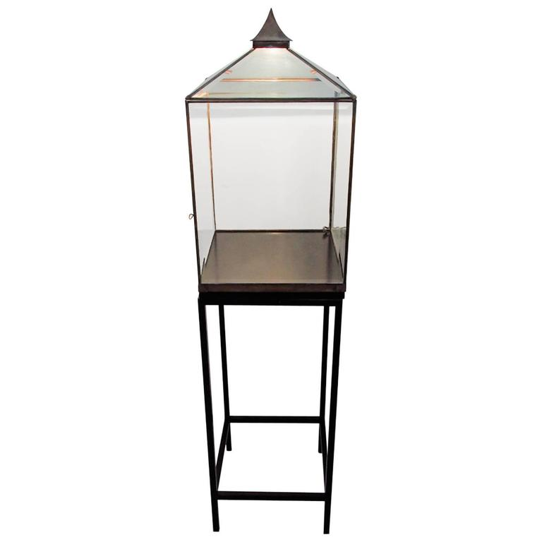 Balinese Style Glass and Oxidized Metal Floor Light with Display Case